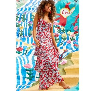 Red and Blue Floral Print Tiered Maxi Dress